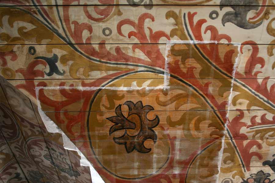 Detailansichten der Kirchenausmalung während der Restaurierung - Stadtkirche Teltow