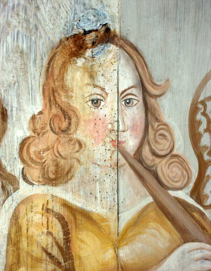 Bearbeitungszustände Restaurierung der figürlichen Deckenmalereien - Dorfkirche Berlitt