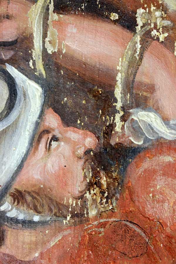Detailansicht zu Retuschen am restaurierten Altargemälde - Dorfkirche Berlitt