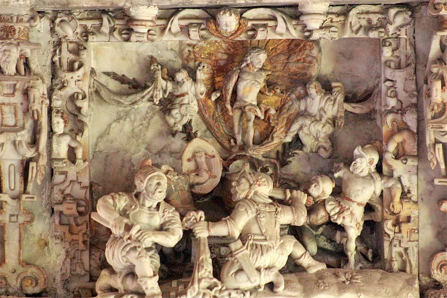 Reinigung und Restaurierung einer Auferstehungsszene - Alabaster-Epitaph Dorfkirche Flechtingen