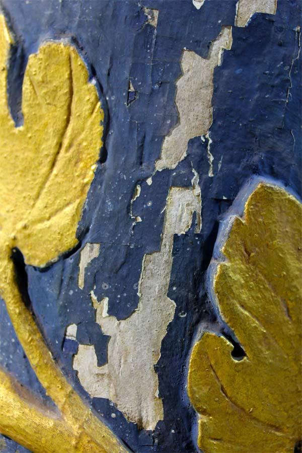 Detailansicht zur Malschichtkonservierung an den Säulen - Stadtkirche Dahme - 01
