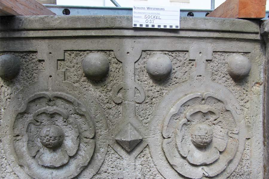 Mikrofeinstrahlreinigung - Renaissancebrunnen Schloss Wiesenburg