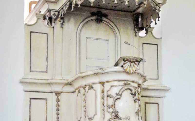 Restaurierung der barocken Kanzel  - Vorzustand - Dorfkirche Tucheim