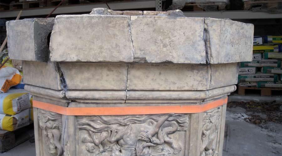 Restaurierung des Terrakottasockels - Schlosspark Reuthen