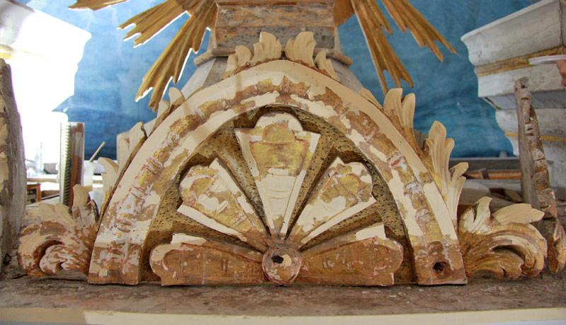 Ansicht nach Konservierung und Kittung - Dorfkirche Altenklitsche
