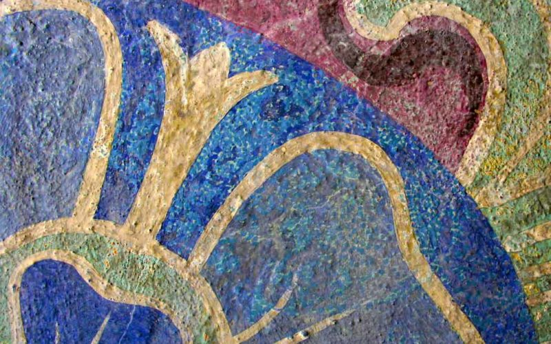 Detailansicht zu Retuschen an einer Lutherrose auf der Nordarkade - Erlöserkirche Berlin Rummelsburg