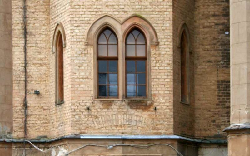 Ansicht der Probeachse - Fassadenrestaurierung Schloss Babelsberg