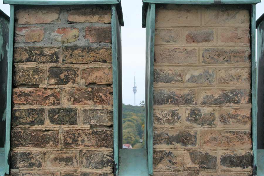 Probefläche Fugenkonservierung - Fassadenrestaurierung Schloss Babelsberg